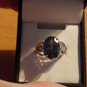 Oval Mystic Topaz ring - size 7
